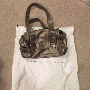 Marc Jacobs pewter leather satchel shoulder bag
